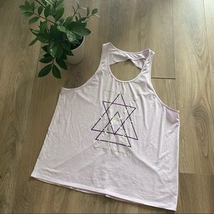 HYBA Open Back Pink Graphic Tank Top